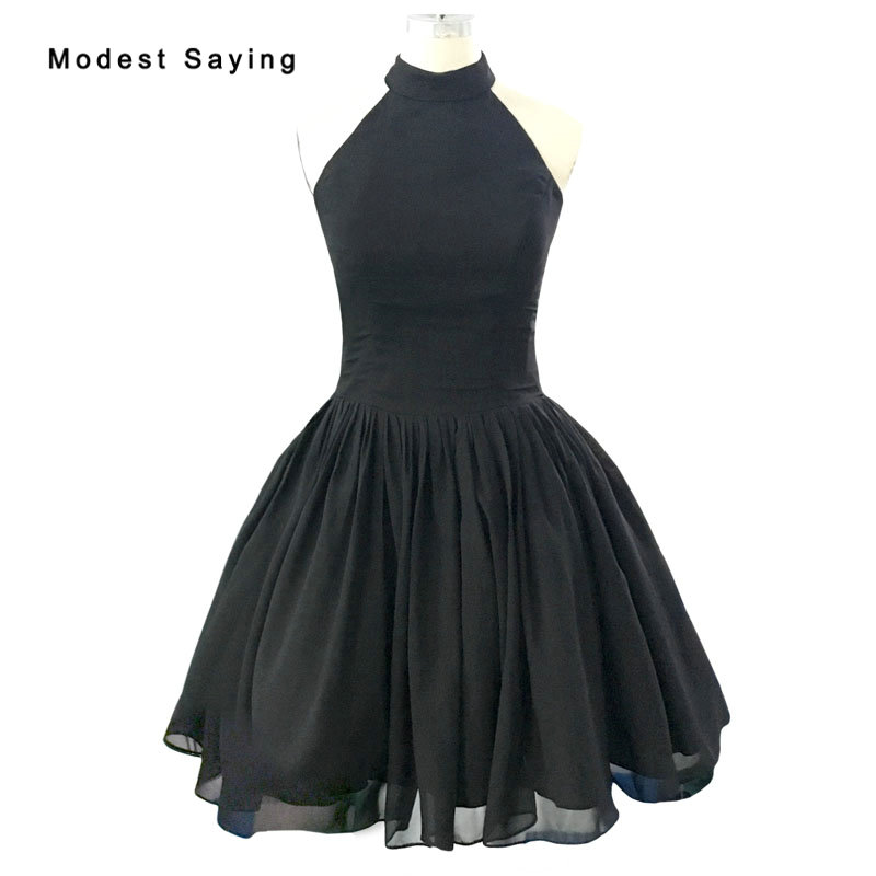 Modest Black Ball Gown Halter Cocktail Dresses Vintage 1950's Dress Formal Knee-Length Party Prom Gowns Vestidos De Coctel BE274