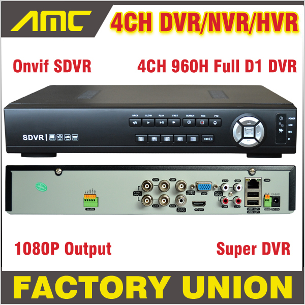 960H Super DVR/HVR/NVR CCTV NVR 4CH Recorder Full D1 H.264 DVR Standalone Security System 1080P HDMI NVR 4 Channel support Onvif 16channel cif resolution cctv camera recorder dvr h 264 motion detect remote view security system cctv dvr support ptz p2p hdmi