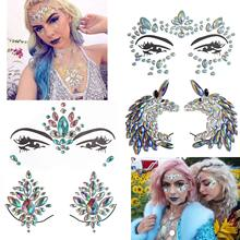METABLE 4 Sets Women Face Body Mermaid Rhinestone Jewels Temporary Tattoos, Stickers for Music Festivals Bohemian Coachella