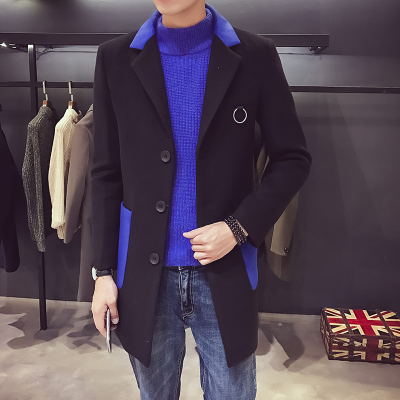 Woolen-Coat Korean-Version Long-Section British The-Windbreaker Matching of The-Basic-Color