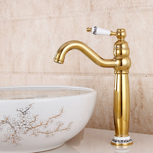 Gold Vessel Sink Faucets Tall Basin Sink Tap Crane Hot And Cold Water Mixer  Single Handle
