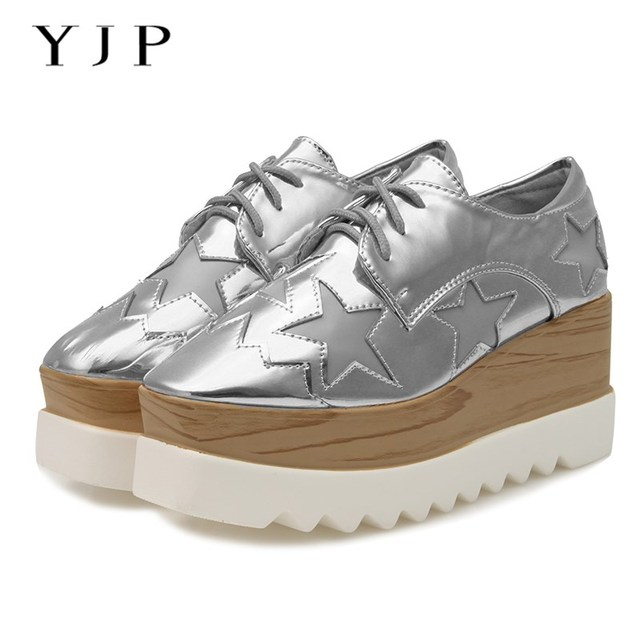 101229f1e8a9 YJP Women Patent Leather Platform Flat Shoes