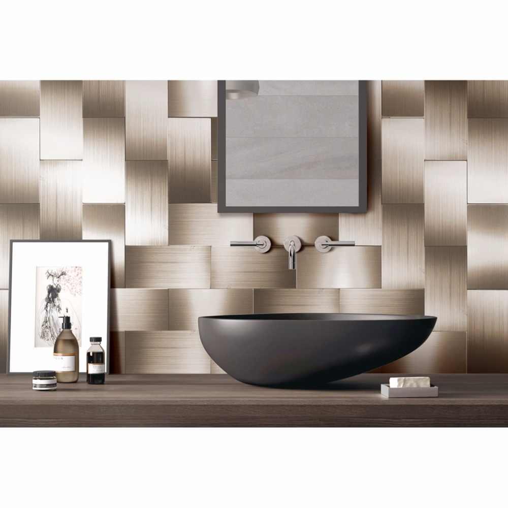 32 חתיכות קליפת מקל Backsplash 3in x 6in מוברש נחושת ארוך תבואה מתכת מטבח וחדר אמבטיה