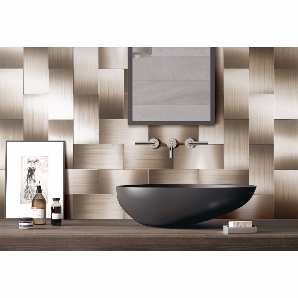 online get cheap stick backsplash aliexpress com alibaba group 32 pieces peel and stick backsplash 3in x 6in brushed copper long grain metal tile for kitchen and bathroom