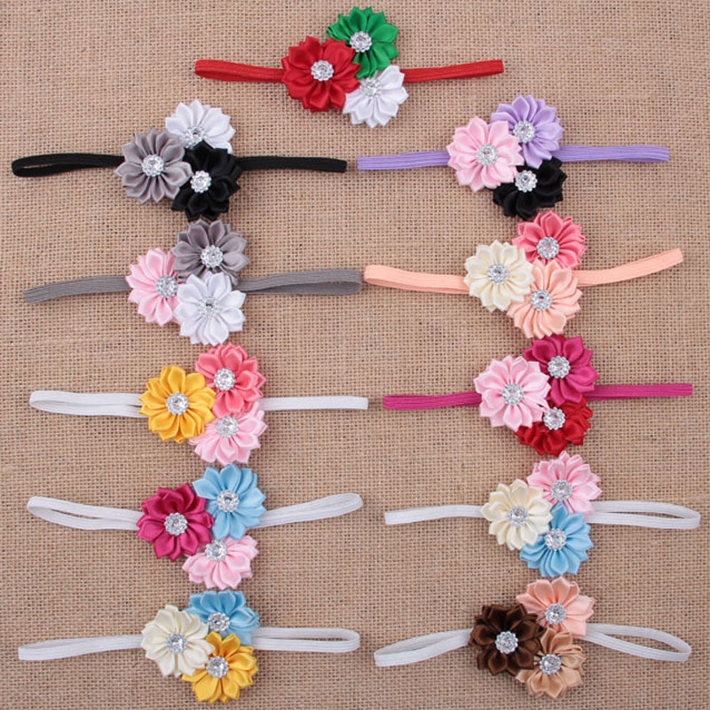 11pcs Lot Mini Satin Ribbon Flower Beaded Hair Flower