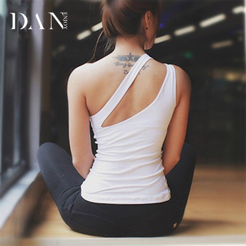DANENJOY One Shoulder Red Padded Yoga Tops Women's