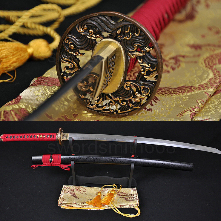Damascus Clay Tempered Japanese Samurai KATANA FULL TANG Sword 8192 layers folded steel blade GENUINE RAYSKIN TSUKA CUSTOM