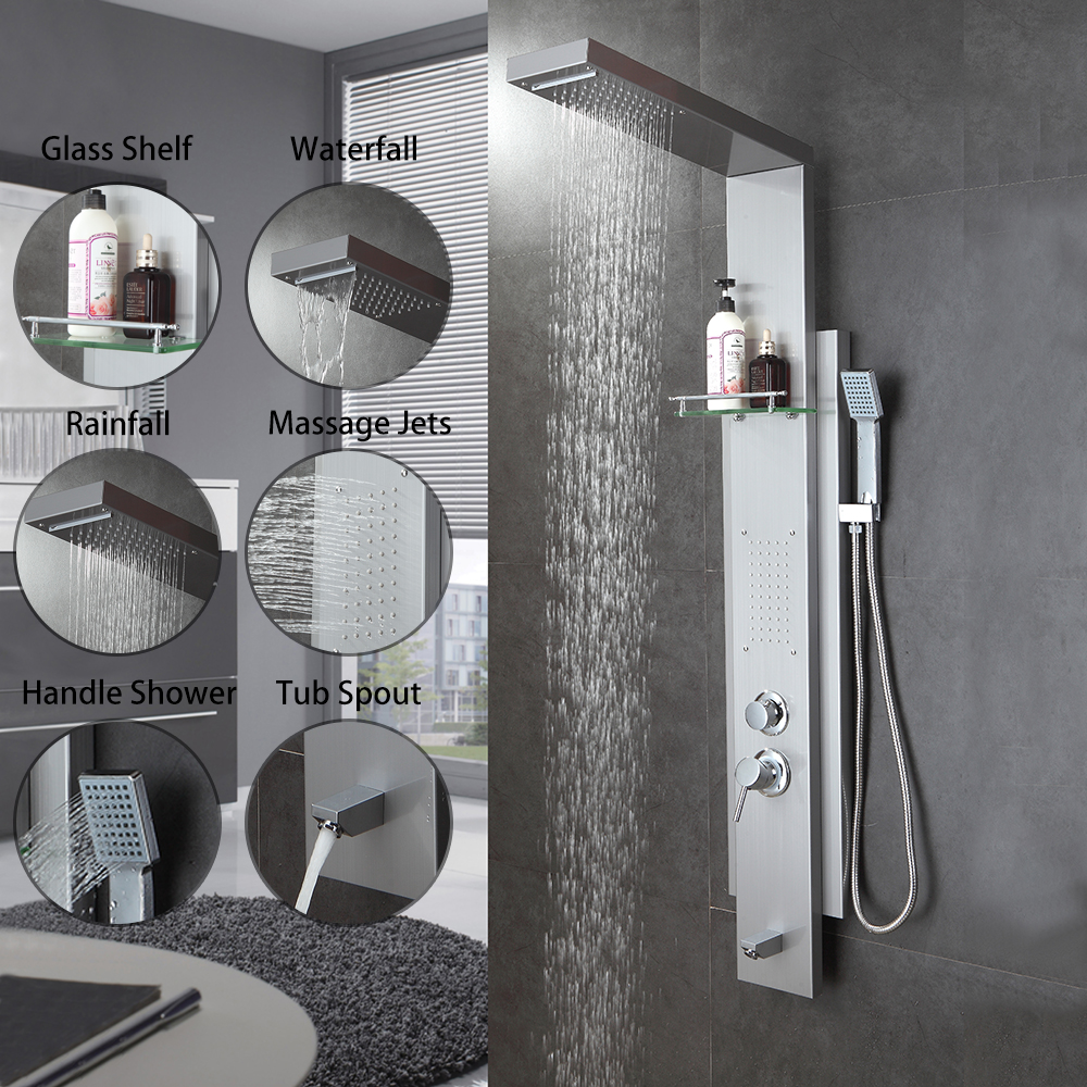 Haliaeetus Wall Mounted Bath Shower Faucet With Shelf Abs Handshower Hot And Cold Water Panels In Faucets From Home Improvement On