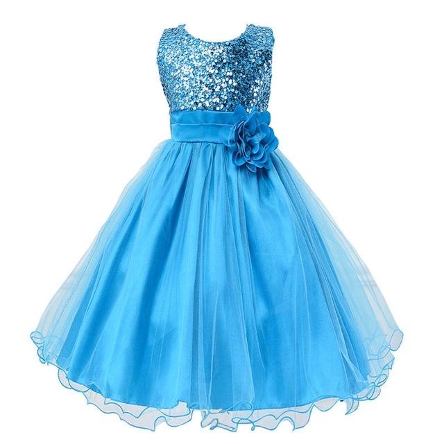 מכירה חמה תינוקת ילדי שמלת נסיכת המפלגה פרח פאייטים בנות בגדי ילדים 9 צבעים 3-14yrs פרח שמלת ילדה