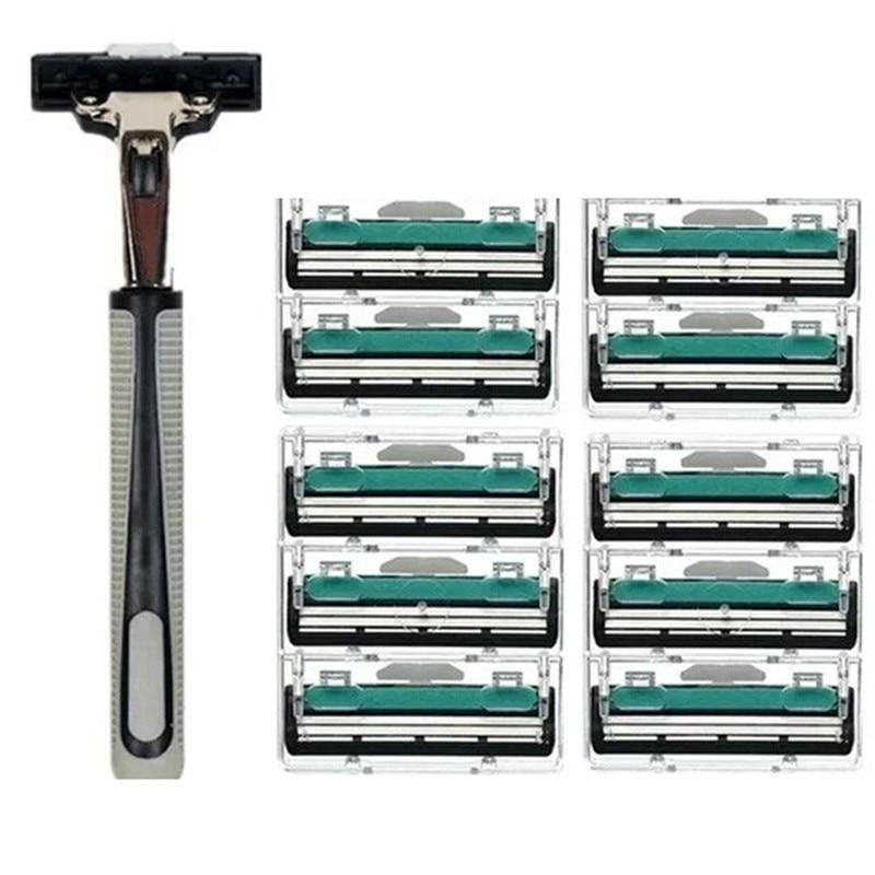 1 Handle 10PCS double Layers Men Face Shaving Razors Blades Male Manual Razor Blades For Standard Beard Shaver Trimmer Blades