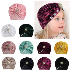 Nishine Infant Newborn Gold Velvet Caps with Rhinestone Kont Turban Girls Spandx Stretchy Beanie Hat Baby Hair Accessories
