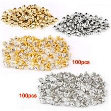 LHLL 100 шт. серебро+ 100 золотая заклепка со стразами алмаз 7 мм