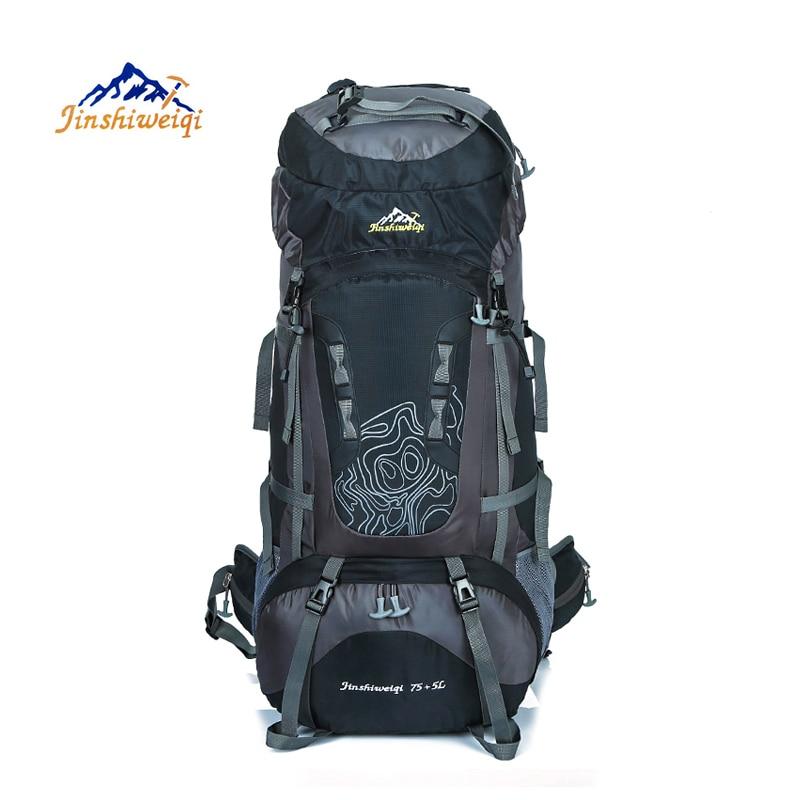 ФОТО JINSHIWEIQI Large 80L Outdoor Backpack Unisex Travel Climbing Backpacks Waterproof Rucksack  Nylon Camping bag Hiking Backpack