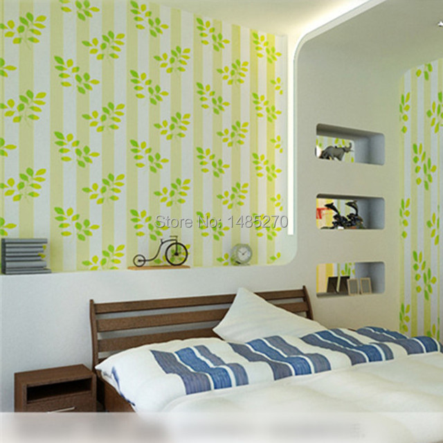 Wallpaper Adhesive Pvc Green Yellow Leaf And Striped Wall Covering Material Diy Paper Walls Of Child