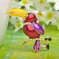 Тукан Птицы Броши Большой Голубой Эмалью Enmal Esmaltes Животных Броши Корсаж Брошь позолоченный Протяжки Coroa Bijoux