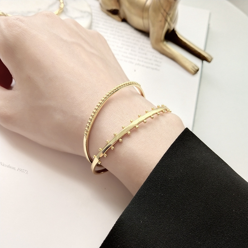 LouLeur 925 Sterling Silver Side Bead Open Bangle Gold Fashion Industrial Wind Design Original Bangles For Women Fine Jewelry