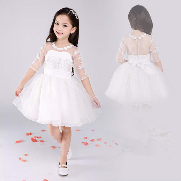 White wedding party dresses for flower girls Princess Tutu Dress 2015 summer new children clothes mesh lace dress free shipping 2016 high grade child girls princess tutu dress kids performance clothes summer birthday and webbing party dresses free shipping