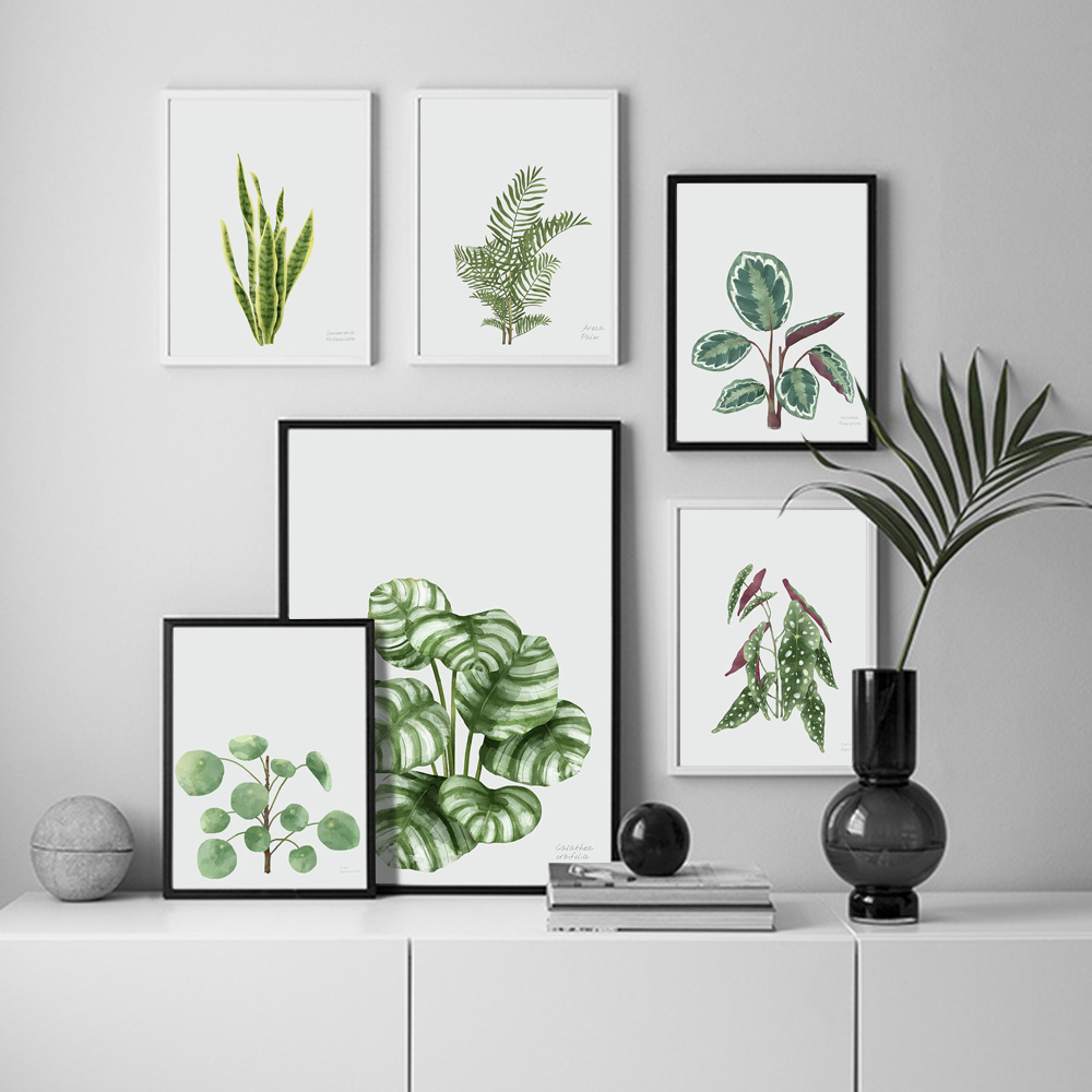 Watercolor Green Tropic Plants Monstera Wall Art Canvas Painting Nordic Posters and Prints Pictures for Living Room Decor