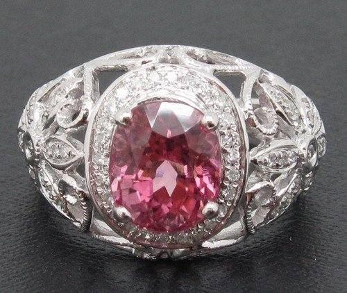 2.80ct!! Solid 18ct White Gold Natural Pink Tourmaline Diamond Ring Settings