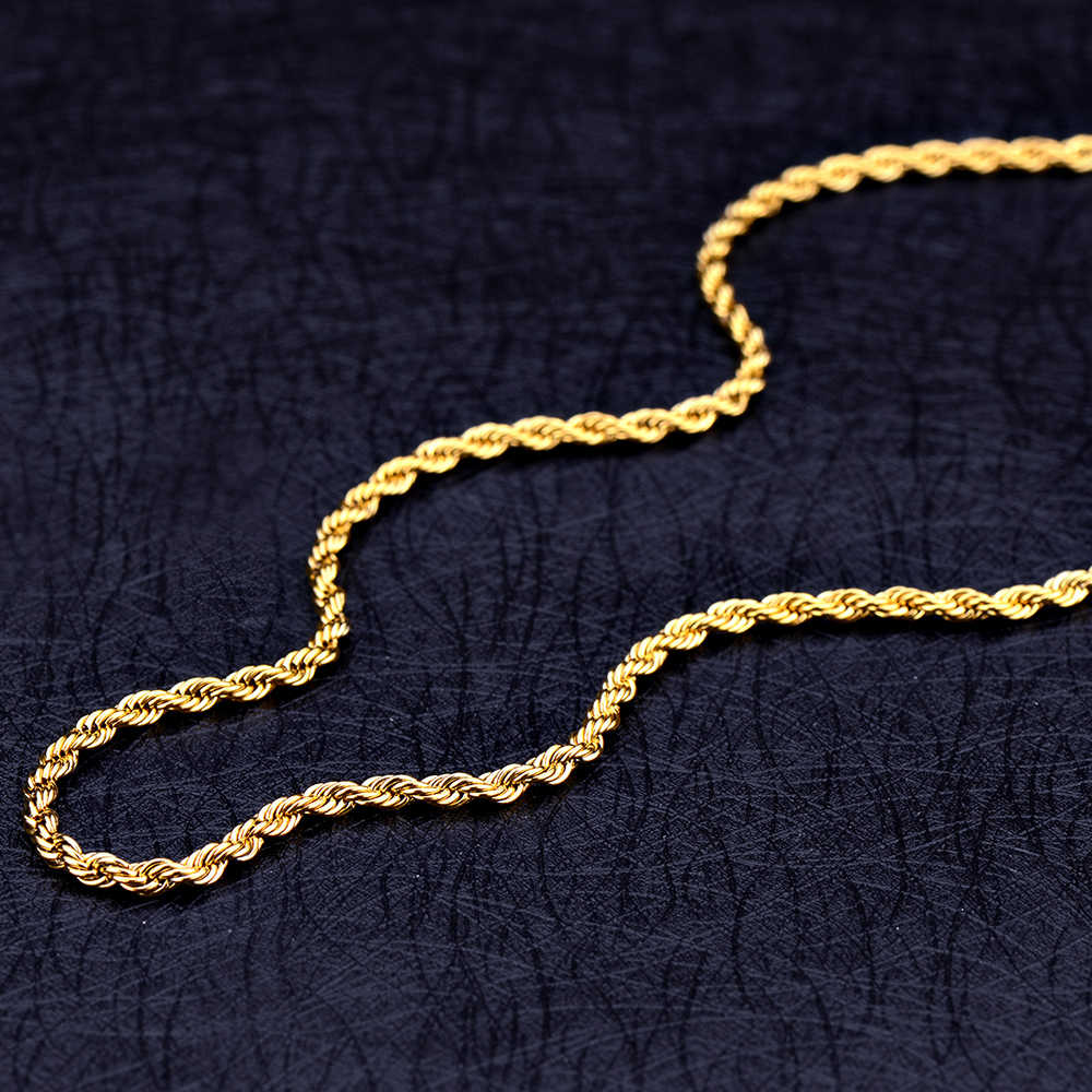 Wholesale 3MM Titanium Steel Gold Twisted Rope Chain Necklace Fashion Party Jewelry For Men and Women Christmas Gifts drop ship