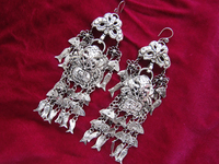 National wind jewelry earrings Long fish tassel hand Miao silver diy accessories Miao exaggerated earrings pendant