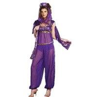 フルセット帽子シャツ エプロン ベルト フラット パンツ魔神アラビア アラジン紫色ジャスミン セクシー な魔神コスチューム女性コスチューム L1255