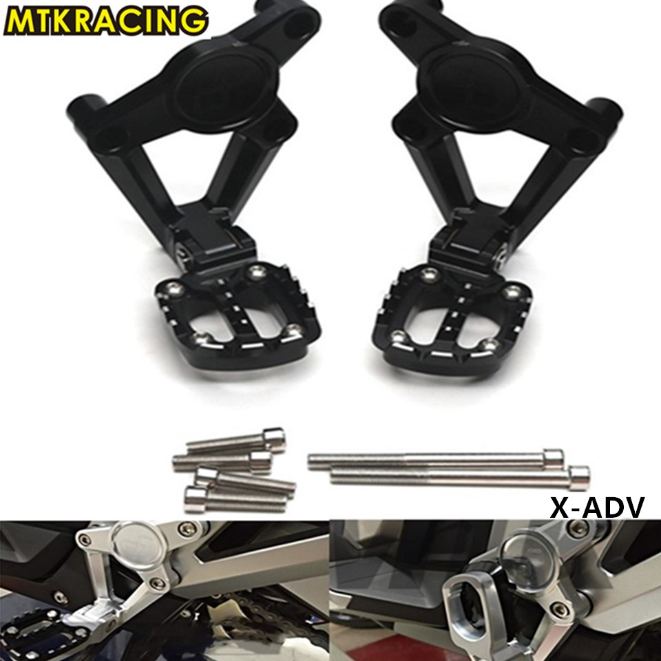 Hot Sale Mtkracing Motorcycle Accessories For Honda X Adv Xadv Motorcycles 750 17 18 Folding Rear Foot Pegs Footrest Passenger Black