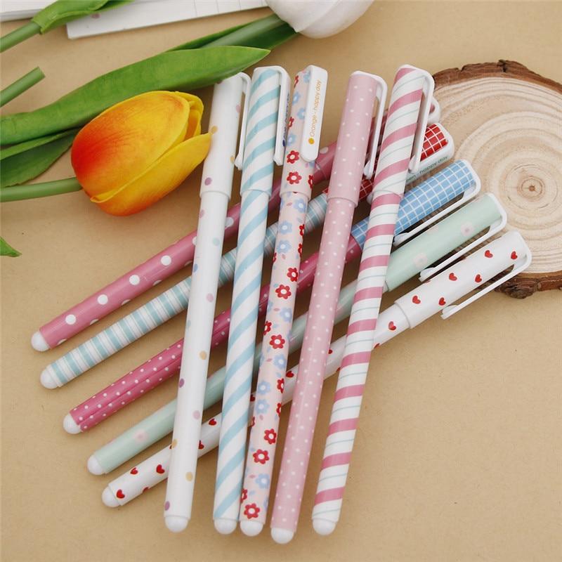 Multi Color Cute Korean stationery Gel Pen Cartoon Pin Type Office Students Pen Pack of 10pcs(10 colors)
