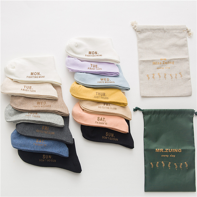 New Unisex Socks 7 Pairs Cotton Letter Long Autumn Men Week Socks New Style Happy High Quality Women Casual Socks Gift