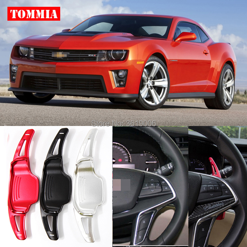 tommia Car Accessories For Chevrolet Camaro 2012-2015 2pcs Steering Wheel Aluminum Shift Paddle Shifter Extension Car-styling tommia 2pcs steering wheel aluminum shift paddle shifter extension for hyundai veloster car styling