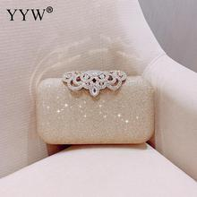 Wedding Shiny Handbags Blue Evening Clutch Bag Women Bags Bridal Metal Evening Purse Clutches Chain Shoulder Bag White 2019 2018 fashion evening bags gold silver clutch bag blue red evening clutch wedding bride clutches purse women bag mini handbags