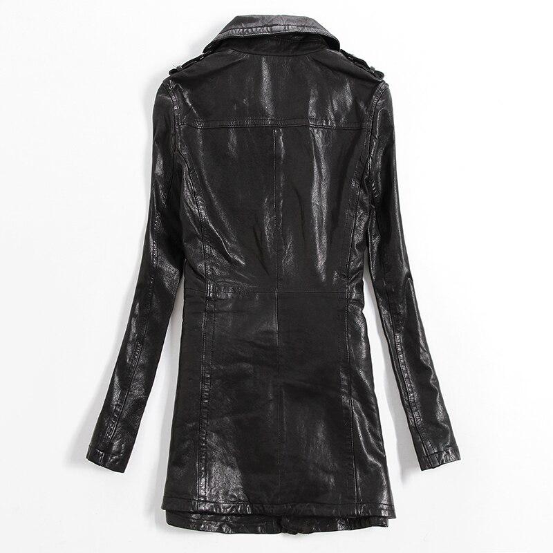 2016 Véritable Style Femmes Moyen Pour Lady Noir Manteau Cuir Mouton Fit Nouveautés De Veste Slim En Peau Fahion qOER6a6