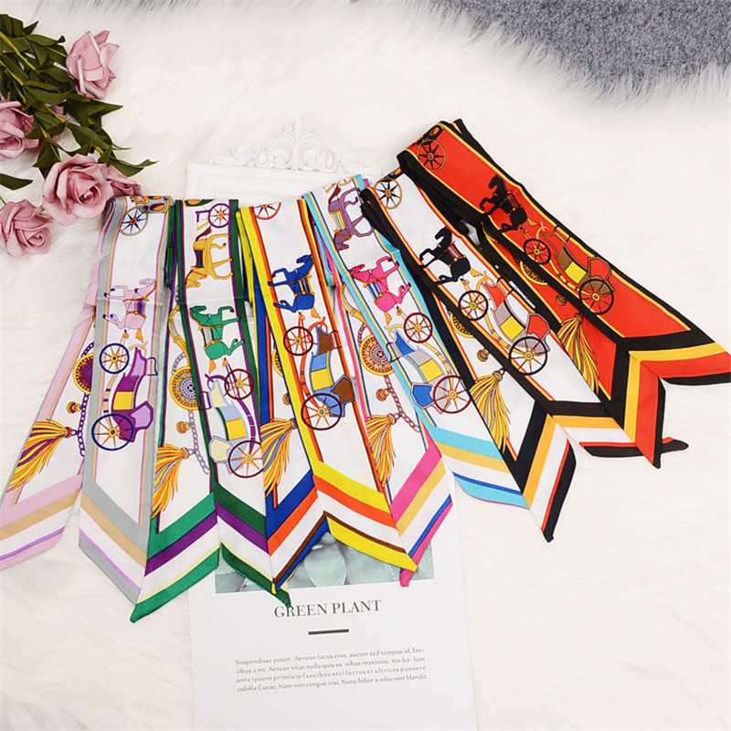 2020 New Design Twill Silk Scarf Women Fashion Skinny Scarf Small Handle Bag Ribbons Female Multifunction Hair Head Scarves Wrap