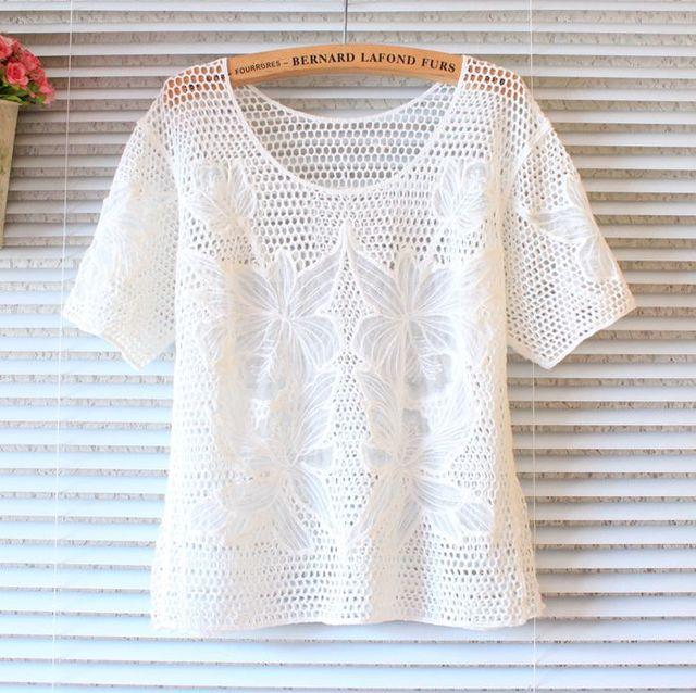 Dulce de la mujer manga corta gancho blusas hollow out crochet lindo ...