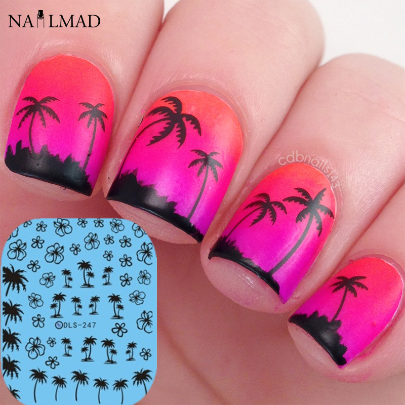 1 Sheet Hawaii Palm Tree Nail Art Water Decals Coconut Tree Nail Transfer Stickers Dls247 In