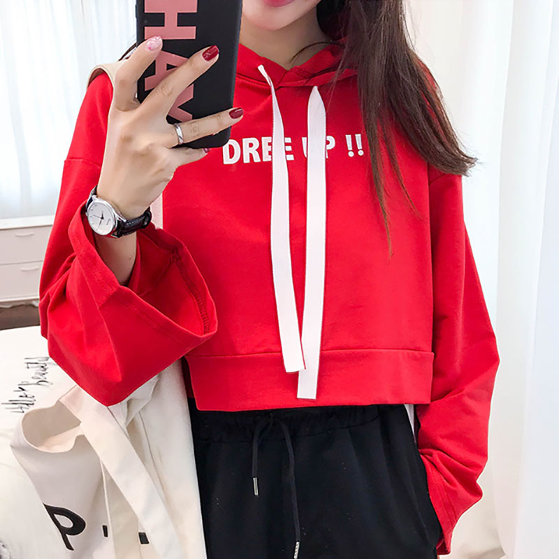 <font><b>K</b></font> <font><b>Pop</b></font> Letter Printed Cropped Hoodies Women Clothing Winter Harajuku Cute Cropped Sweatshirt Hoodie Schoolgirl Streetwear image