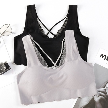 Summer Soft Tank Top Seamless Beauty Back Underwear Fashion Cross V-neck Padded Women Bra Camisoles