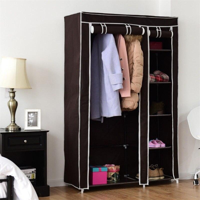 "69"" Portable Closet Storage Organizer Clothes Wardrobe Steel Tube Sturdy Durable Construction Zipper Dust Proof Fabric HW54397BN"