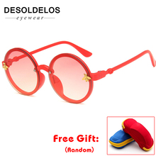 2019 Children Glasses Rimless Kids Colorful Baby Sunglasses Boys Eyewear Big Round Frame Bee Girls Oculos UV400 with box