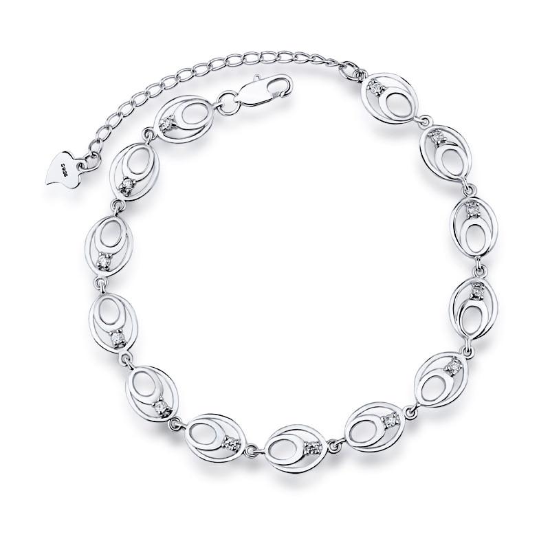 2017 Sale Charm Luxury Real 925 Sterling Silver Bracelet for Women Clear Cubic Zircon Crystal bracelets Wedding Jewelry L33