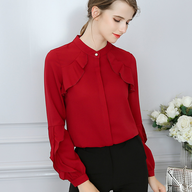 Office Lady  Ruffles Blouse Women Shirt Tops Sweet Slim Solid Stand Collar Long Butterfly Sleeves Blusas Femininas S-2XL