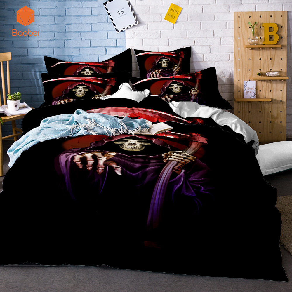 3D Skull Halloween series witch Soft bedding sets Comfortable Duvet Cover With Pillowcases Queen King Size Bed Covers SJ132