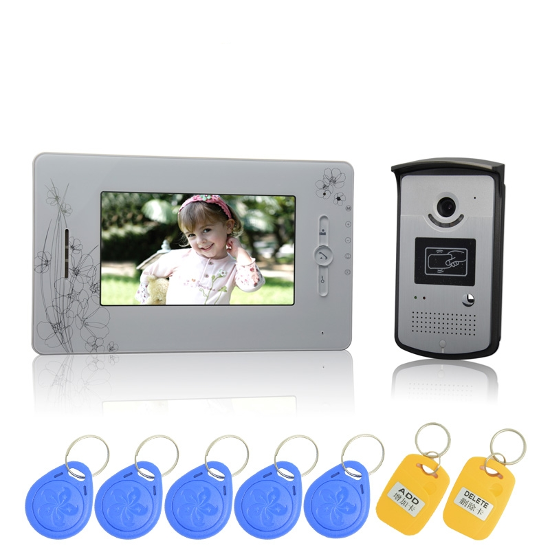 (1 Set) 7 Inch Color Screen 1 To 1 Video Intercom Home Use Talk-back Door Bell Night Visible Camera Waterproof RFID Card Release