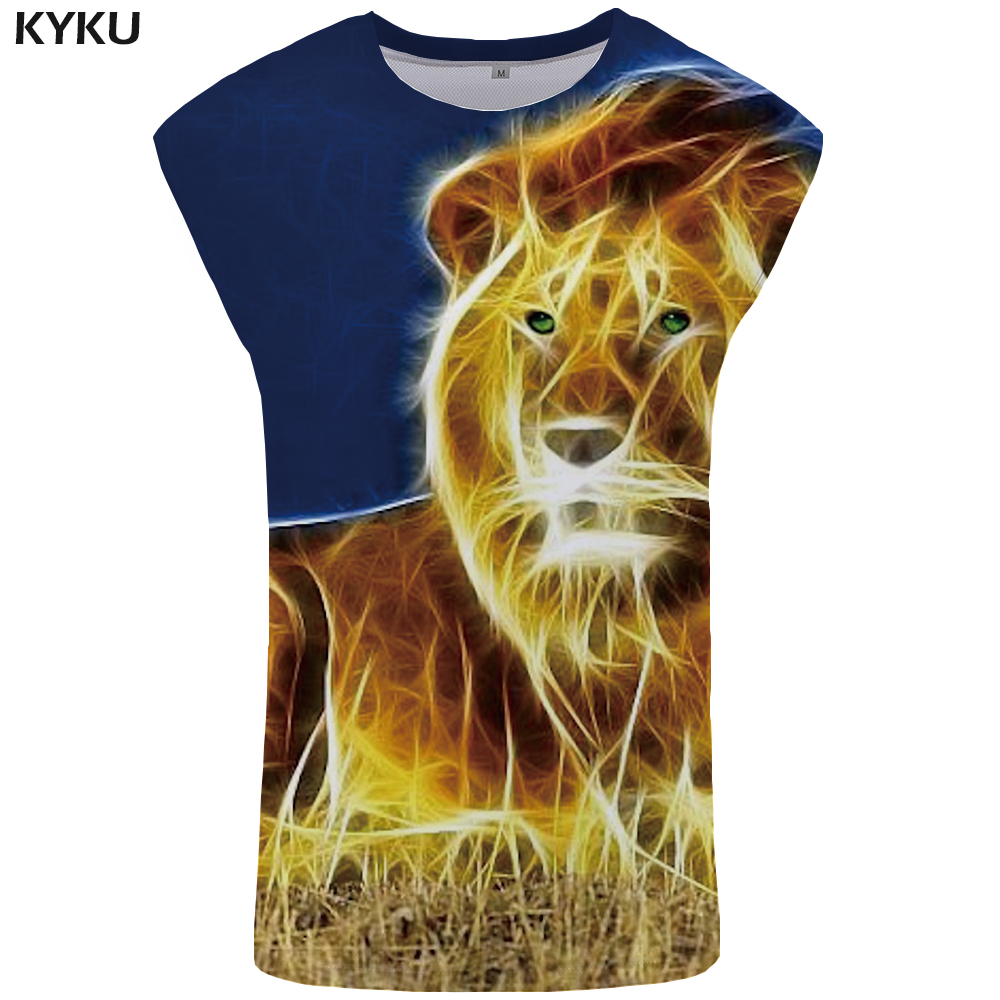 KYKU Lion Tank Top Men 3D Mens Bodybuilding Street Vest Punk Singlet Stringer Undershirt Sleeveless Shirt Man Clothes Summer