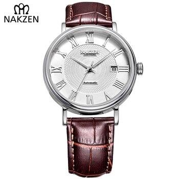 1b8516a5482 Homens MIYOTA 9015 Negócio Relógio Relógio de Safira do relógio de Pulso  Mecânico Automático relógios Clássico relógio de Couro Genuíno Relógio  Masculino ...
