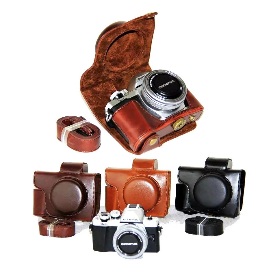 PU Leather Camera Case Cover for Olympus E-M10 Mark II EM10 II MarkII (14-42mm Lens) High Quality + Strap Protective Case retro camera bag case cover for olympus omd e m10 markiii em10 mark iii epl5 epl6 epl7 epl8 ep5 em10 em5 mark ii markii
