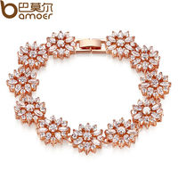 Bamoer HOT Bracelet Bangle For Women Prong Setting Zircon Chain Bracelet Jewelry Gift For Female JIB007