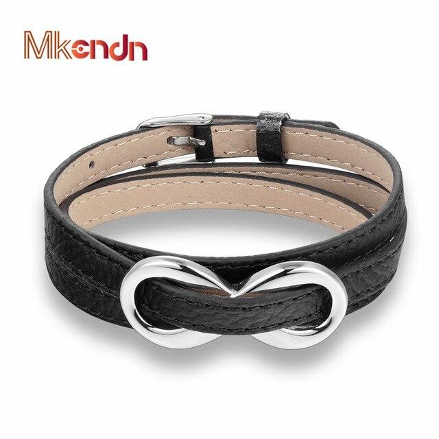 Mkendn Hot High Quailty Infinity Bracelet Bangle Men Women Multilayer Genuine Leather Hand Chain Buckle