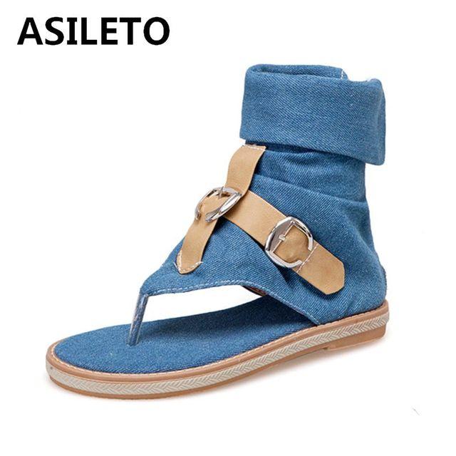 ASILETO yaz çizmeler kot sandalet düz kama bayanlar Denim ayakkabı t kayış Gladyatör sandales klip ayak roma fermuar büyük boy 43