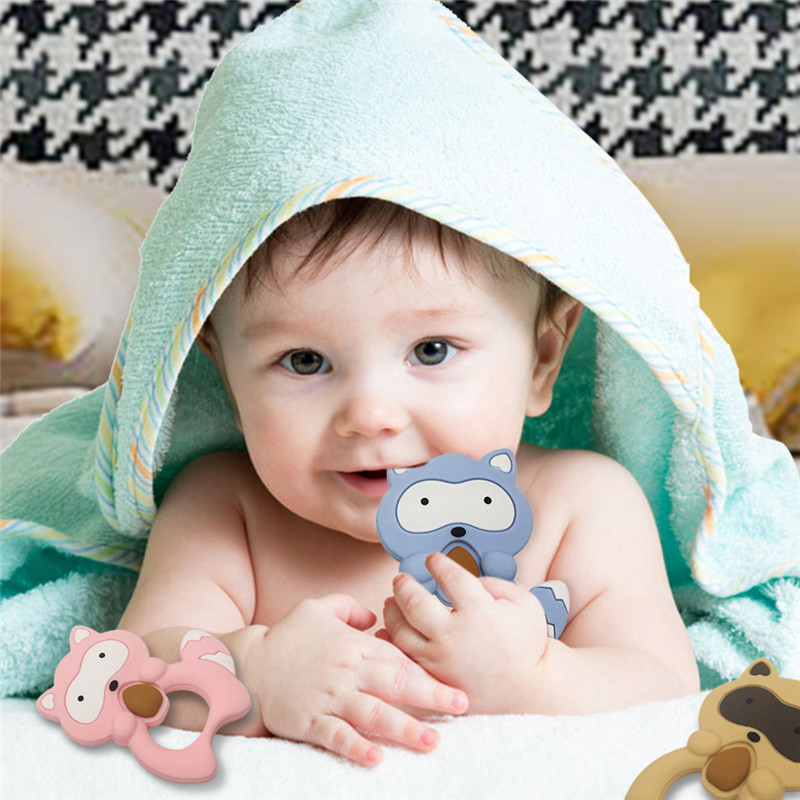 Baby Teeth Grinding Small Raccoon Animal Teether Baby Teething Toy Teething Holder Nursing Baby Teether